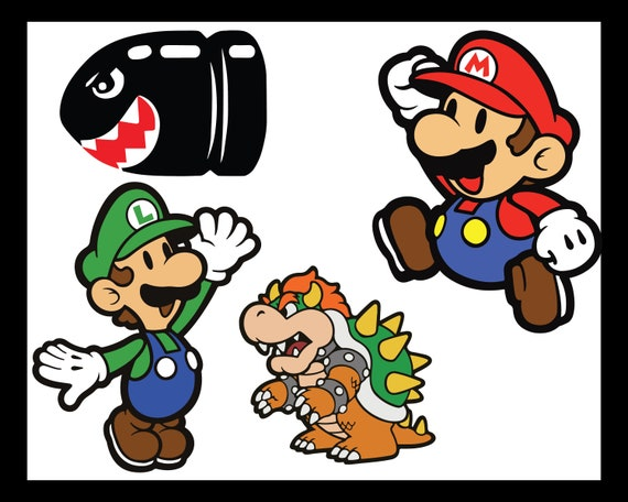 Super Mario Luigi Bullet Bill Bowser Characters Svg Dxf Png Digital Download For Die Cutters And Printing