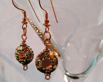 Copper and sterling silver earrings, boho drop earrings, copper and silver dangle earrings, copper and silver tab earrings