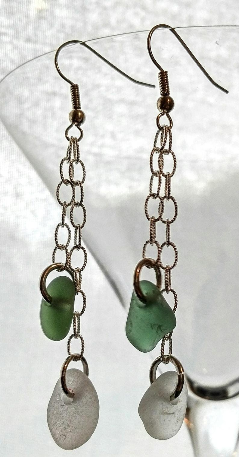 beach glass earrings sea glass and chain earrings siver earring with sea glass Sea glass earrings