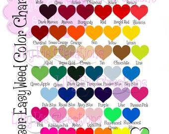 Heat Transfer Vinyl Color Chart, Siser Color Chart, Glitter HTV Color Chart, Digital HTV Color Chart, Orcal 651 Color Chart, Downloadable