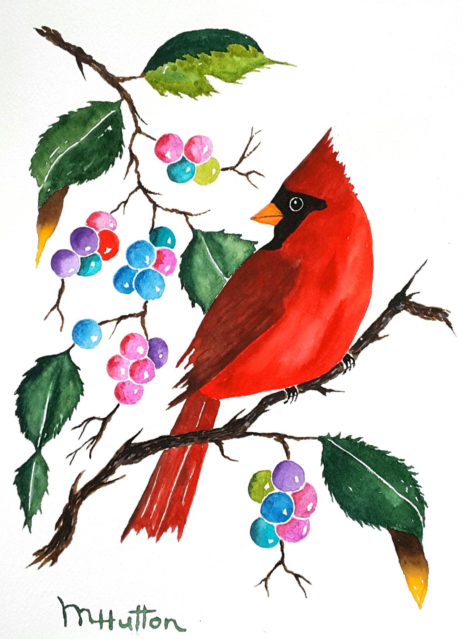 Original Watercolor Painting Birds Stuffed Cardinal | Etsy