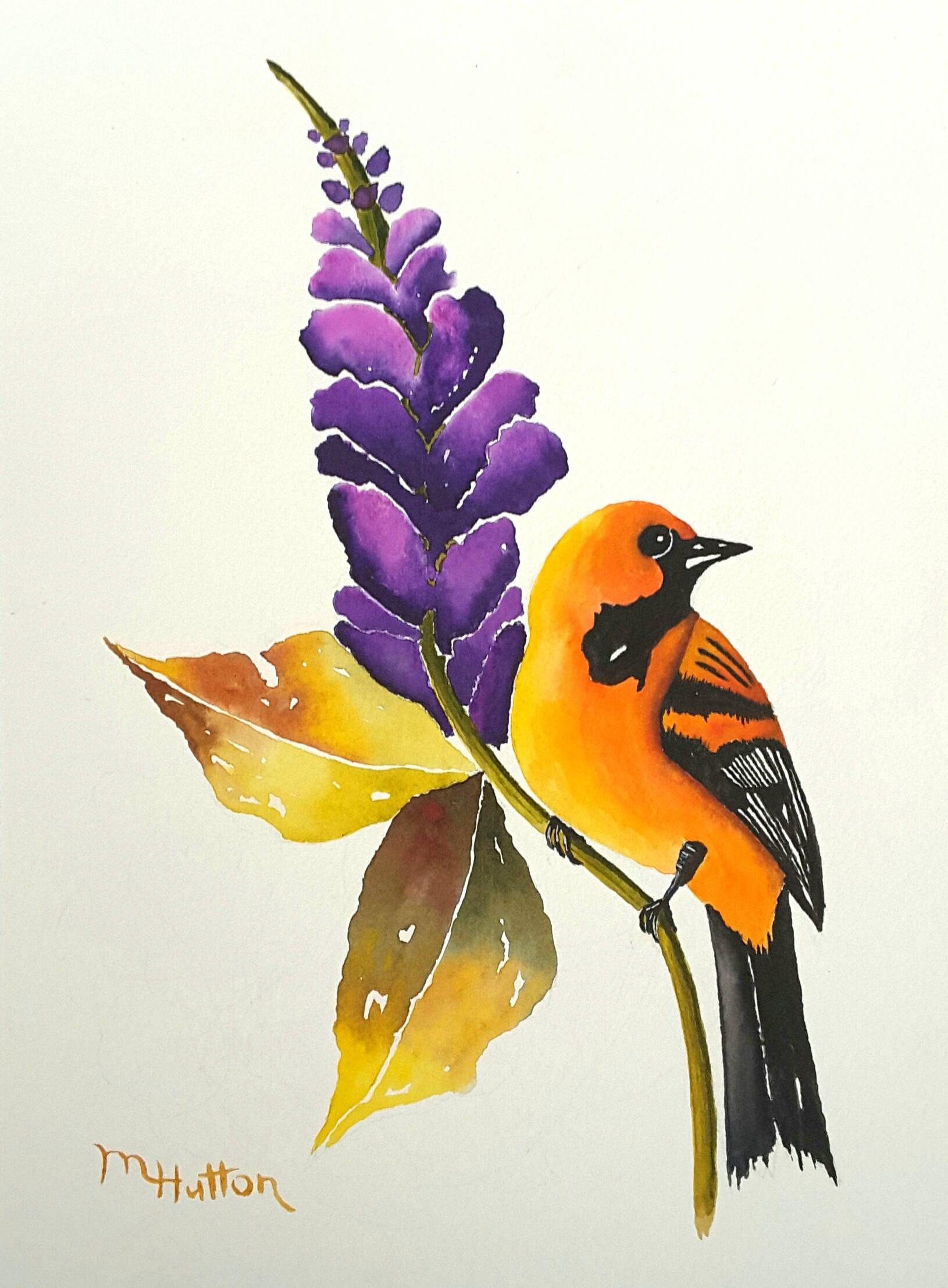 Original Bird Art Watercolor Painting Altamira Oriole and | Etsy