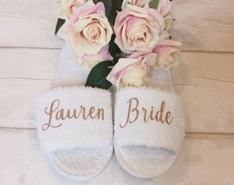 c7444f69577 Bridesmaid Slippers Personalised Wedding Slippers Bridal Party Slippers Bride  Slippers Personalised Maid of Honour Slippers Wedding