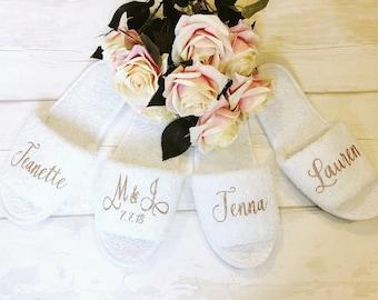 Bridesmaid Slippers/Personalised Wedding Slippers/Bridal Party Slippers/Bride Slippers/Personalised/Maid of Honour Slippers/Wedding