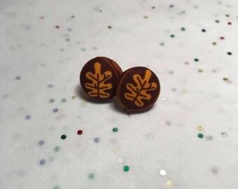 Autumn | Oak Leaf Button Earrings