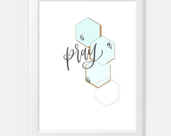 Pray Art Deco Hexagon Modern Digital Print mint