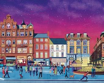 Bigg Market, Full Illustration, Newcastle, giclée print