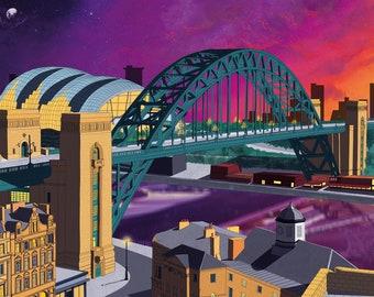 Tyne Bridge Newcastle Gateshead Sunset Print