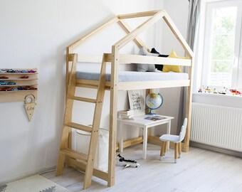 Single bed on mezzanine for kids - TALO D10 - Pine wood