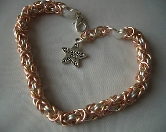 Two colour Byzantine chainmaille bracelet in silver and gold