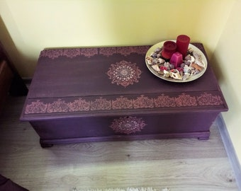 Purple chest,Chest mandala,Bohemian chest,Wooden trunk,Rustic Wooden Storage,Trunk Storage,Chest Storage