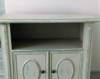 Vintage Wood cabinet,Wood cabinet,оld cabinet,Viennese cabinet,beige cabinet,green cabinet,massive cabinet,beige green TV cabinet