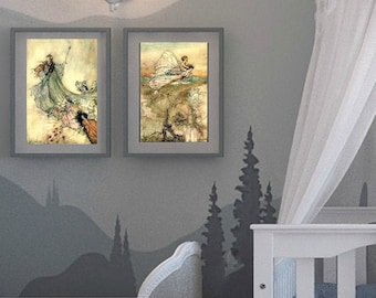 FAIRY ART PRINT- 2 Poster Set These Fairy Tail Illustrations are Vintage Prints by A Rackham | Digital Download
