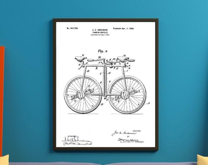 Minimalist Wall Art Tandum Digital Patent Print 3 Sizes