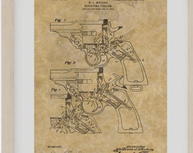 GUN PATENT PRINT - Digital Download, Revolver Poster, Gun Wall Art, Revolver Poster, Invention Print