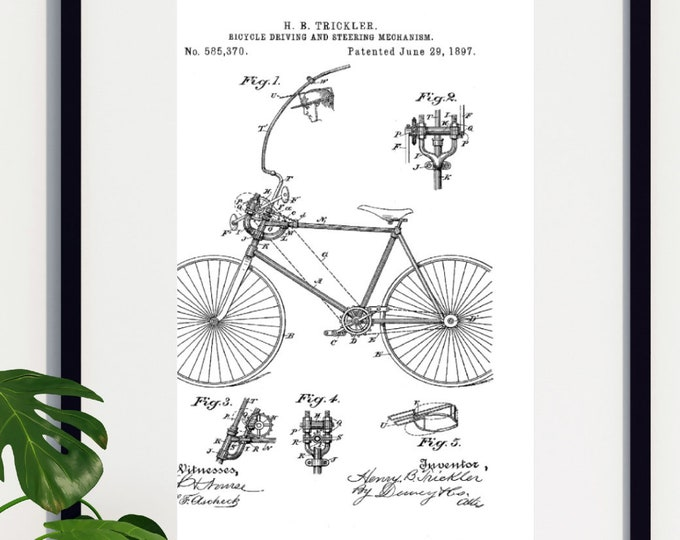 Black and White Bicycle Patent Print Digital Download 3 Sizes