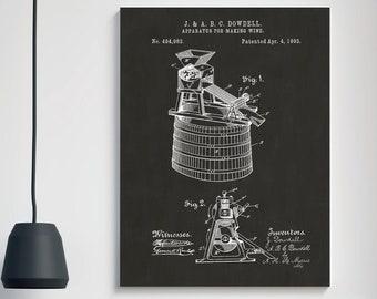 WINE VAT PATENT Poster - Man Cave Wall Art, Bar Art, Wine Maker Gift, GIft For Him, Manly Art, Vintage Patent Print