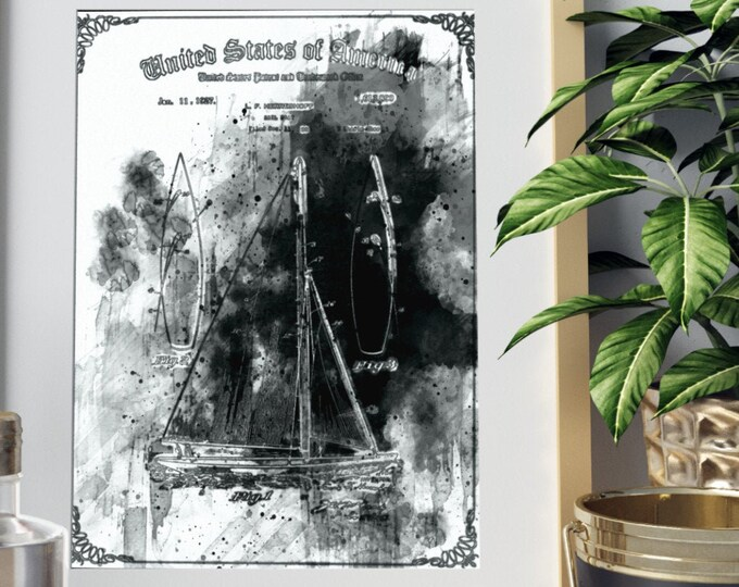 PEN AND INK Sailboat Patent Print, Digital Download, Nautical Decor, Vintage Patent Print, Patent Art Print