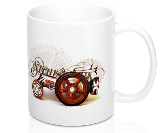 Steampunk STEAM ENGINE MUG - Classic Tractor, Mechanics Gift, Steam Engine Tractor, Gift For Him, Gift For Her
