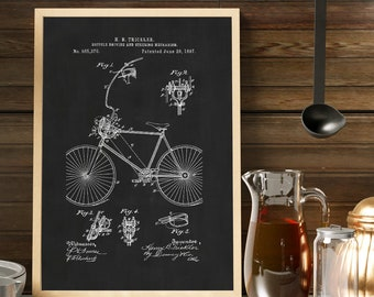 BICYCLE STEERING MECHANISM Patent Print - Black and White Vintage Wall Art, Bicycle Decor, Man Cave Decor