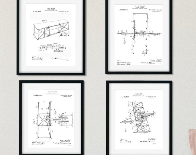 DIGITAL DOWNLOAD Wright Brothers Airplane Patents Set of 4 Digital Prints Wall Art 8X10 Inches