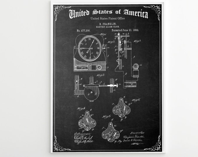 VINTAGE ALARM CLOCK Patent, Benjamin Franklin Patent Print, Digital Download
