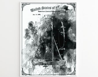 PEN AND INK Printed Poster Sailboat Patent Print, Nautical Art, Sailboat Decor, Vintage Sailboat Patent Print