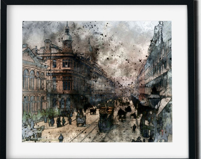 BELFAST SKYLINE ART - Pen and Ink Drawing, Watercolor Art, Vintage Print, Victorian Era, Digital Download