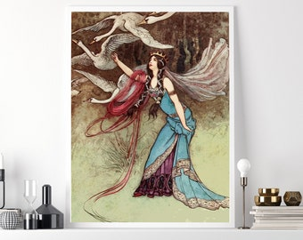 7 SWANS GRIMM Brothers Poster - Warwick Goble Illustration, Fairy Tale Bookplate