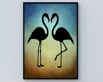 BLACK FLAMINGOS Silhouette At Sunset - Animal Wall Art, Flamingo Poster, Gift For Flamingo Lover