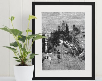 ALBANY NEW YORK State Street from 1800s  Black and White Pen and Ink Drawing, Vintage Wall Art, Victorian Era Architecture