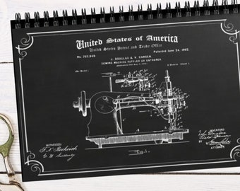 Spiral Notebook - Ruled Line Sewing Machine Patent Print on Cover