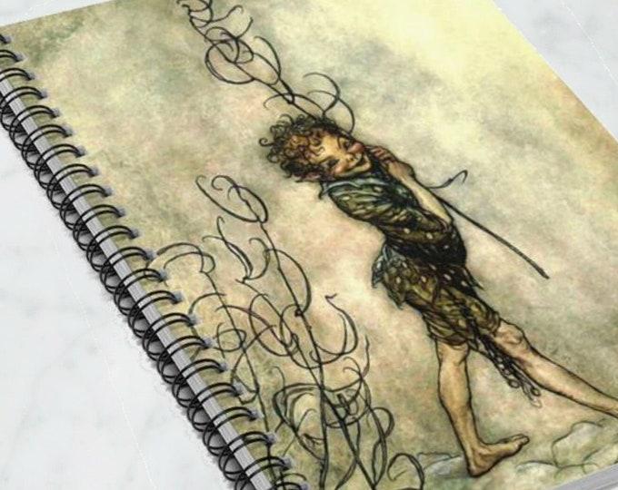 PETER PAN ILLUSTRATION - Spiral Notebook, Rule Lined Journal, Arthur Rackham, Fantasy Art, Bullet Journal, Writing Journal, Gift For Her