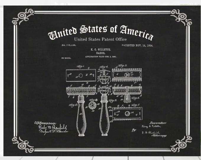 Vintage Patent Print, GILLETTE RAZOR PATENT With Chalkboard Background, Digital Download