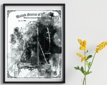 PEN AND INK Printed Poster Sailboat Patent Print, Nautical Art, Home Decor, Vintage Sailboat Patent Print, Patent Drawing, Man Cave Decor