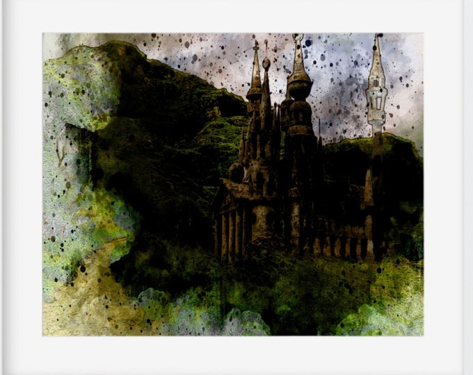 FAIRY CASTLE PRINT - Vintage Watercolor Enchanted Castle, Landscape Art, Medieval Art, Digital Download