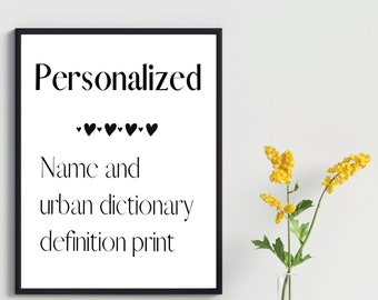 Personalized Name And Definition Print Customized Wall Art