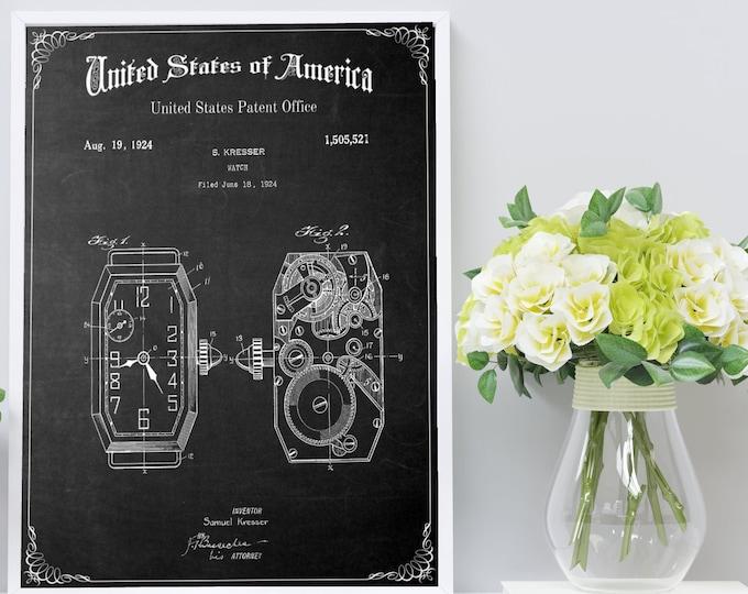 STEAMPUNK WATCH PATENT Poster - Jewelry Art, Steampunk Art, Patent Print