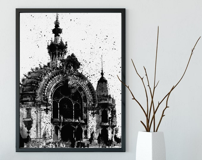 FRENCH WORLD Fair from 1900 - Black and White Poster, Historical Wall Art, Vintage Architecture