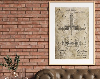 EDISON INVENTION PATENT Poster - Vintage Invention Print, Thomas Edison Patent Print