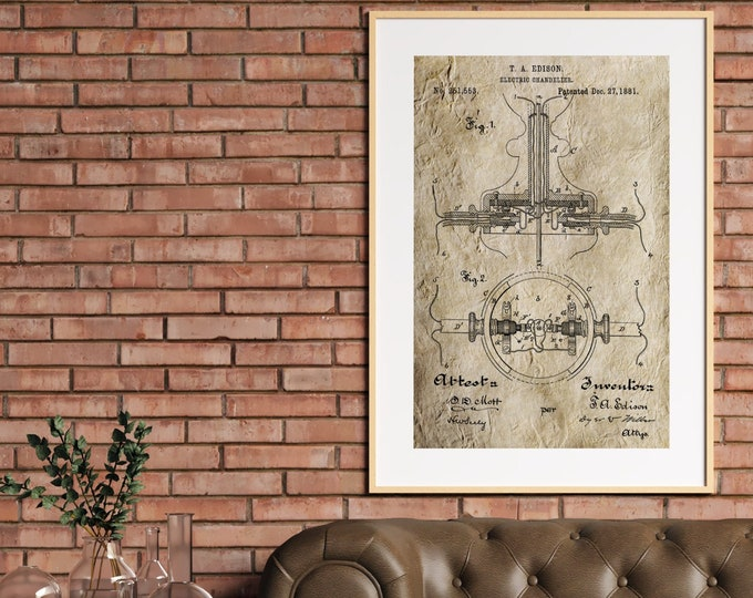 EDISON INVENTION PATENT Poster - Vintage Invention Print, Antique Edison Patent Print