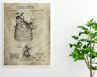 WINE MAKING PATENT Poster - Wine Making Print, Man Cave Decor, Manly Art, Vintage Patent Print, Drinking Art,