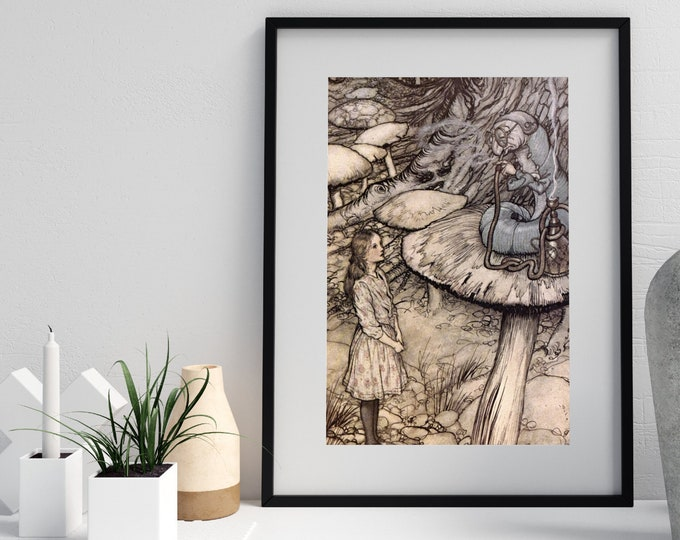 ARTHUR RACKHAM POSTER - Alice in Wonderland, Art Deco Poster, Home Decor, Nursery Decor, Rackham Print, Fantasy Art, Baby Shower Gift