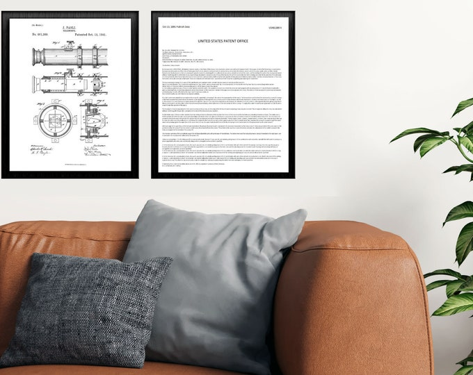 TELESCOPE PATENT DRAWING | 2 Combo Set | 3 Size Set | Black and White Art | Gift For Him | Combination Print | Office Art |  Patent Print