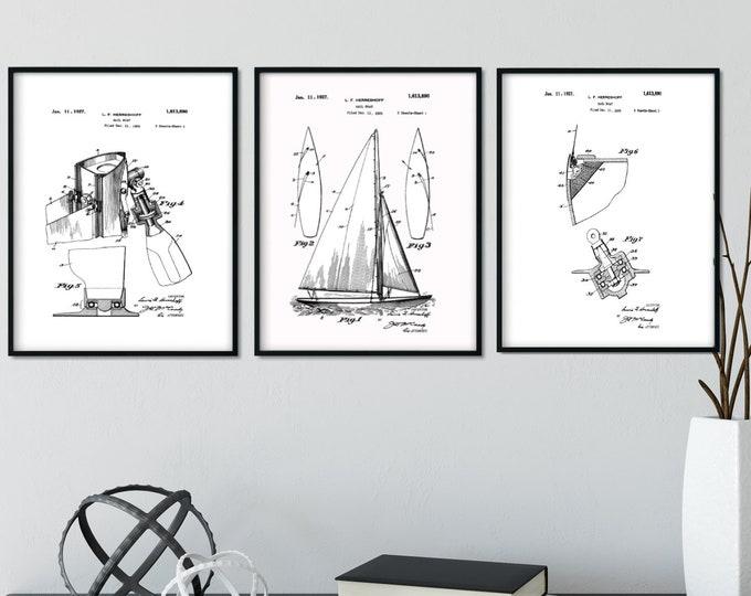 DIGITAL DOWNLOAD Black on White Sailboat Patent Print Set 16x20 Print Dimensions - Man Cave Decor