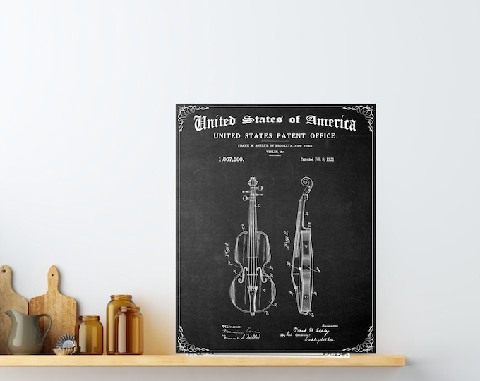 VIOLIN PATENT PRINT Wall Art, Digital Download, Teacher Gift, Musician Gift, Black and White Line Drawing, Music Room Decor