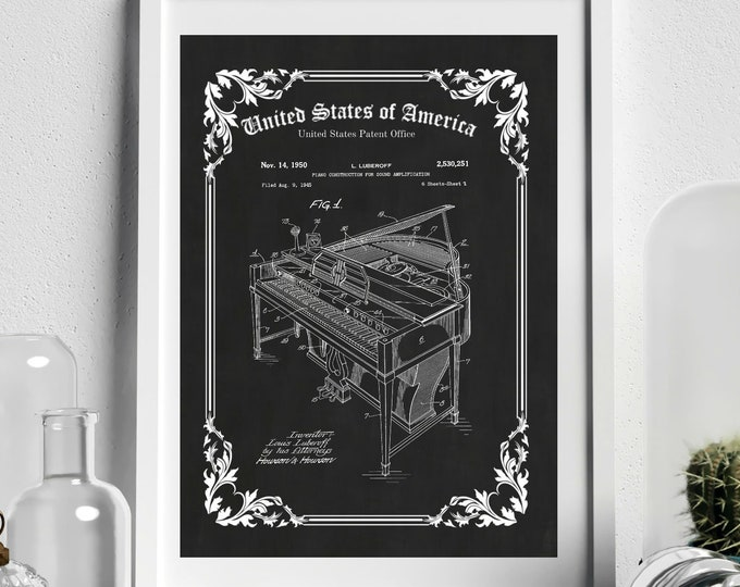 OLD PIANO PATENT - Vintage Wall Art, Grand Piano Patent Print, Music Teacher Gift, Music Room Decor