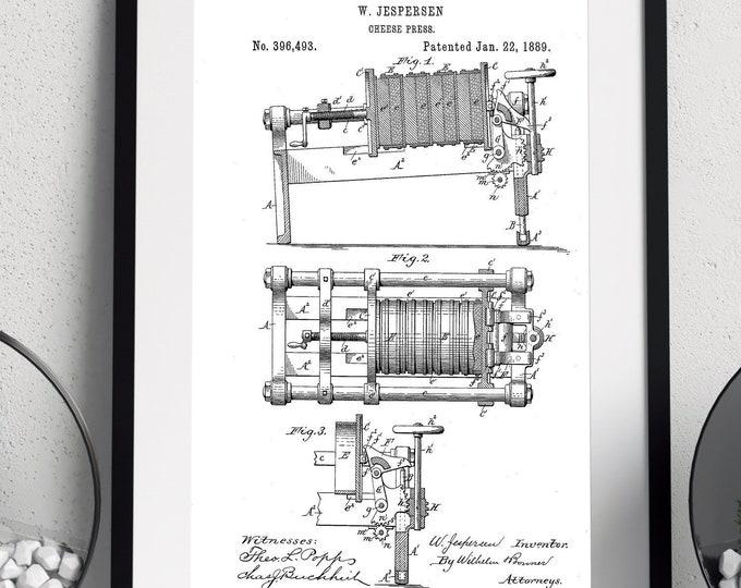 DIGITAL DOWNLOAD - Minimalist Wall Art | Kitchen Cheesepress Patent Print | Industrial Decor | 4 Print Sizes Included