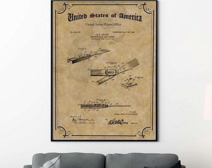 VINTAGE CHISEL PRINT Patent - Wood Carving Tool Poster, Carpenter Tool Patent Drawing