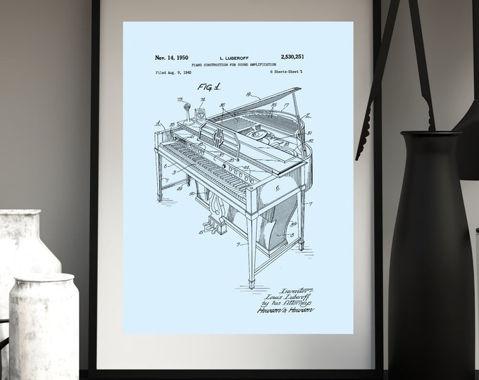Sky Blue Color Background Piano Patent Print Digital Download